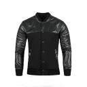 Stand Collar Single-Breasted Button Panel PU Leather Plain Jacket with Double Pockets