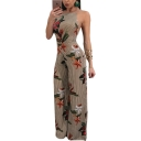 Floral Striped Printed Spaghetti Straps Sleeveless Wide Leg Jumpsuit