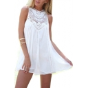 Crochet Embellished Round Neck Sleeveless Mini A-Line Dress