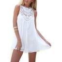 Crochet Embellished Round Neck Sleeveless Mini A-Line Dress