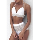 Lace Insert Halter High Waist Bottom Bikini