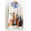 Fake Two Pieces Lapel Collar Cartoon Animal Printed Long Sleeve Sweatshirt