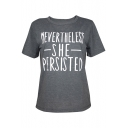 NEVERTHELESS Letter Printed Round Neck Short Sleeve Tee