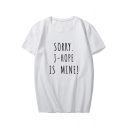 SORRY Letter Printed Round Neck Short Sleeve Tee
