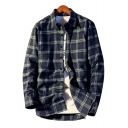 Chic Plaid Printed Lapel Collar Long Sleeve Buttons Down Shirt