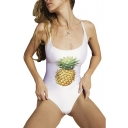 Pineapple Printed Hollow Out Back Sleeveless One Piece Swimwear