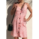 Floral Printed Spaghetti Straps Sleeveless Buttons Down Hollow Out Back Mini Cami Dress