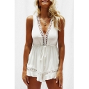 Hollow Out Detail V Neck Sleeveless Plain Romper