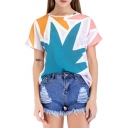 Color Block Leaf Printed Round Neck Short Sleeve Tee