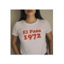 1972 Letter Printed Round Neck Short Sleeve Tee
