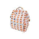 Cute Emoji Printed Zippered Backpack School Bag