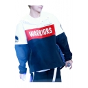 Color Block WARRIORS Letter Printed Long Sleeve Buttons Embellished Hoodie