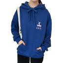 SPACE Letter Planet Rocket Embroidered Long Sleeve Hoodie