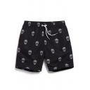 Stylish Black Men's Fast Dry Short Skull Swim Shorts with Mesh Lined Side Pockets