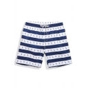 Fashion Elastic Drawstring Navy Blue and White Striped Anchor Bathing Suits without Lining