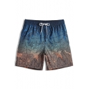 Designer Blue Elastic Ombre Leaf Print Swim Trunks Shorts for Male with Mesh Lined Pockets