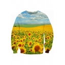 Sunflower Landscape Pattern Long Sleeve Pullover Sweatshirt for Couple