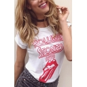 Mouth ROLLING 1978 Letter Print Round Neck Short Sleeves Leisure T-shirt