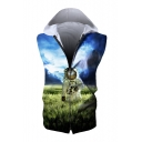 Astronaut Field Printed Sleeveless Zip Up Hoodie