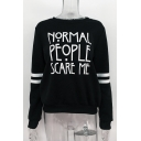 NORMAL PEOPLE SAVE ME Letter Contrast Striped Printed Round Neck Long Sleeve Sweatshirt