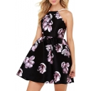 Floral Printed Spaghetti Straps Sleeveless Hollow Out Back Mini A-Line Dress