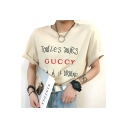 Letter Printed Round Neck Short Rolled Sleeve Tee