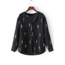 Ballet Girl Printed V Neck Long Sleeve Buttons Down Shirt