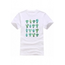 Cactus Printed Round Neck Short Sleeve Loose Tee
