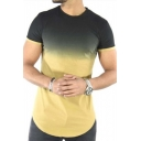 Color Block Round Neck Short Sleeve Tee