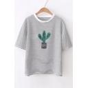 Cactus Printed Stripes Round Neck Short Sleeve Tee
