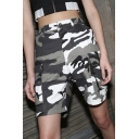 Women's High Waist Camouflage Printed Zipper Fly Loose Utility Shorts