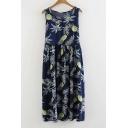 Floral Printed Round Neck Sleeveless Midi Dress