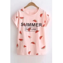 SUMMER NATURE Watermelon Printed Round Neck Short Sleeve Tee