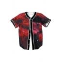 Trendy Galaxy Printed Short Sleeve Buttons Down Baseball Tee