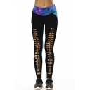Galaxy Printed Color Block Hollow Out Detail Front Skinny Leggings