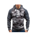 Color Block Camouflage Letter Printed Long Sleeve Hoodie