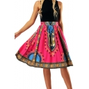 High Waist Fashion Printed Midi A-Line Skirt