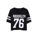 BROOKLYN 76 Letter Contrast Striped Printed Round Neck Short Sleeve Crop Tee