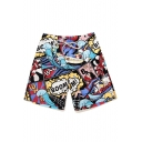 Cool Mens Fast Drying Comic Cartoon Pattern Swim Trunks with Side Pockets
