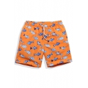 Designer Elastic Orange Fish Printed Swimming Trunks for Guys with Lined Pockets