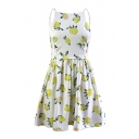 Lemon Printed Spaghetti Straps Sleeveless Hollow Out Back Mini A-Line Dress
