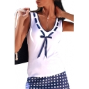 Bow Tied Embellished V Neck Contrast Trim Sleeveless Tank