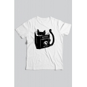 WORLD DOMINATION Book Letter Cat Printed Round Neck Short Sleeve Tee