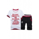 Men's Letter Printed Round Neck Short Sleeve Tee with Drawstring Waist Shorts Co-ords