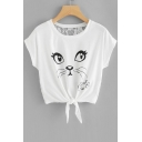 SWEET HEART Letter Cat Printed Tie Front Lace Crochet Back Round Neck Short Sleeve Tee