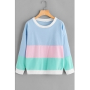 Chic Color Block Round Neck Long Sleeve Sweatshirt