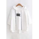 HEY Letter Printed Short Sleeve Hooded Tee