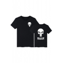 Letter Skull Printed Round Neck Short Sleeve Tee for Couple