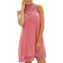 Lady's Lace Insert Sleeveless Mini A-Line Dress