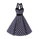 Polka Dot Printed Halter Sleeveless Midi A-Line Dress